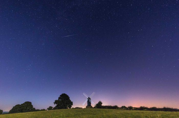 Perseid Meteor over Rolvenden Windmill