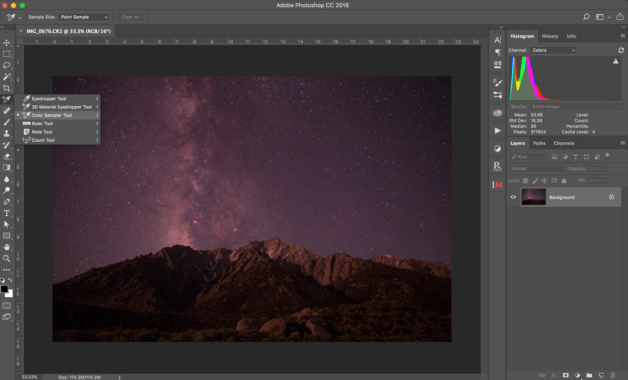 Selecting the colour sampler tool in Photoshop