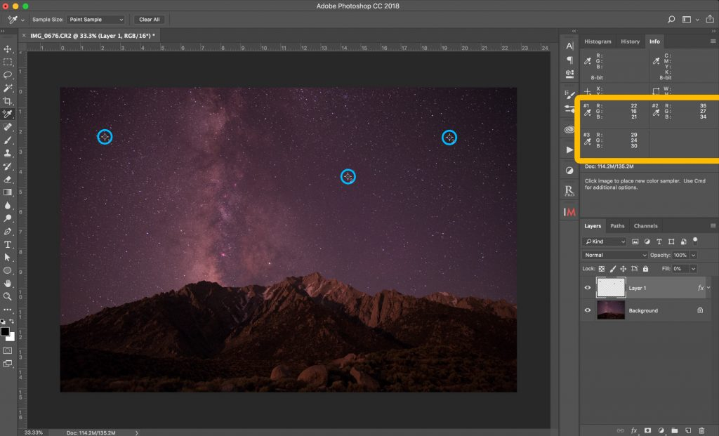 Pick three points with the sampler tool in a dark area of the image, and add a Saturation adjustment layer