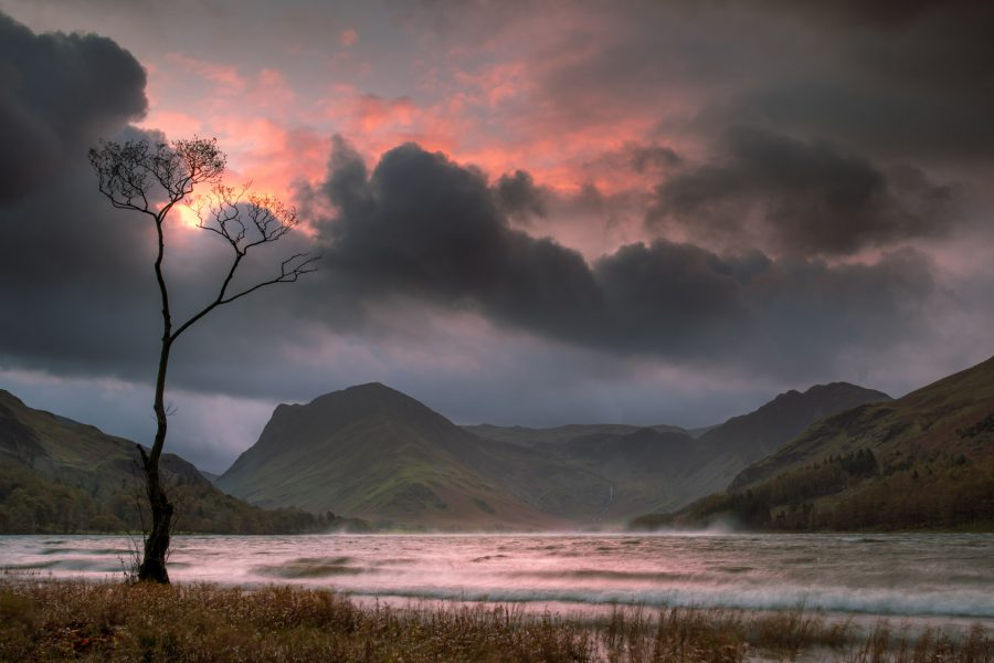 """Storm """"Brian"""" passing through the Lake District, with the Lone Tree feeling the force."""