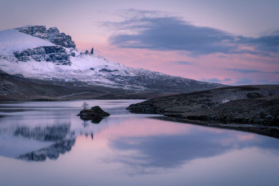 Sunrise at Loch Fada below a snowy Storr, Isle of Skye
