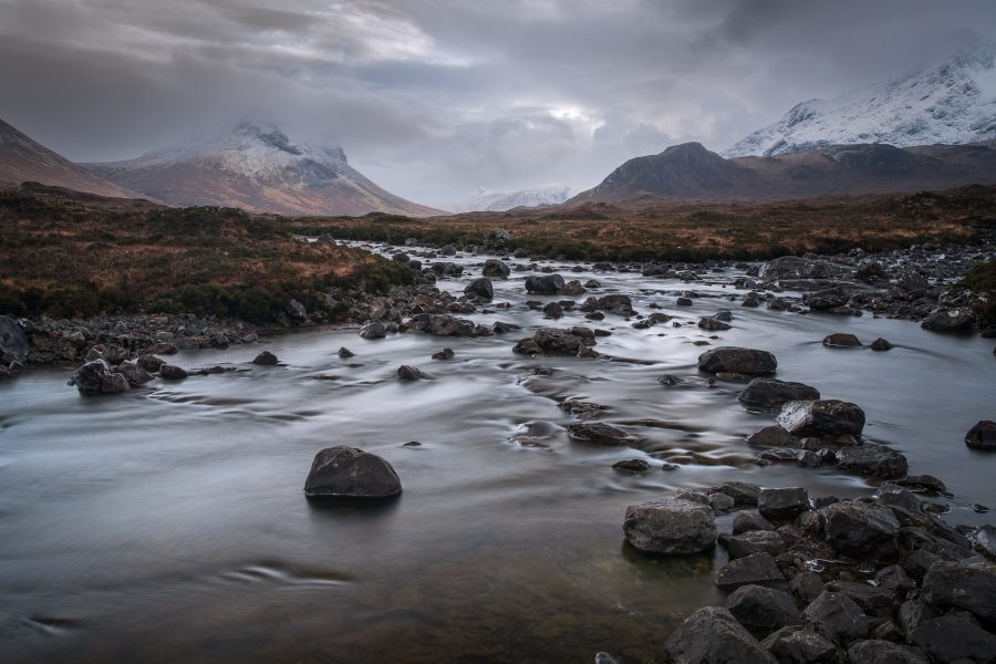 The Sligachan river flows through one of the Isle of Skye's many magestic valleys